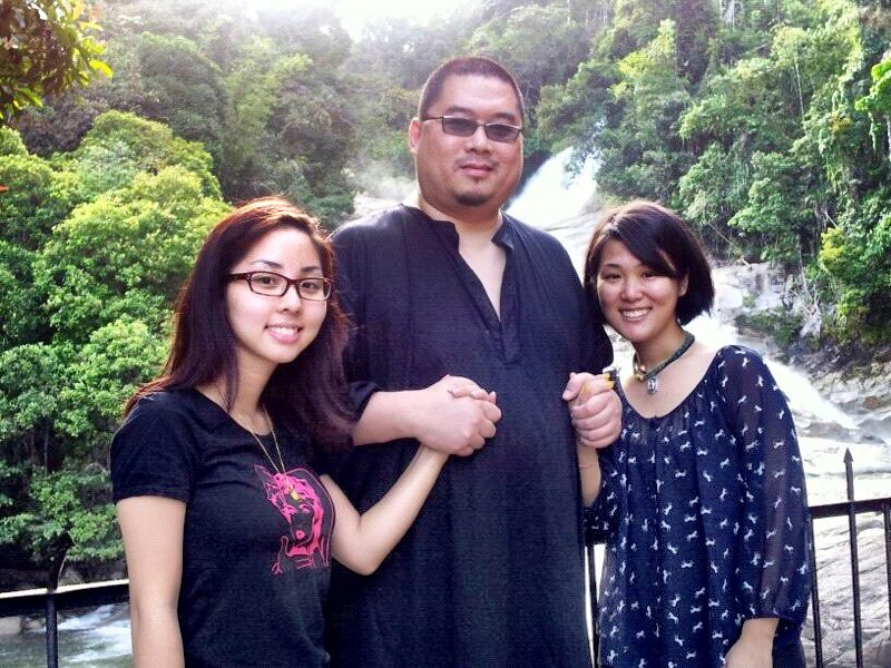 Rinpoche with Jean Mei and me at the Chamang Waterfall