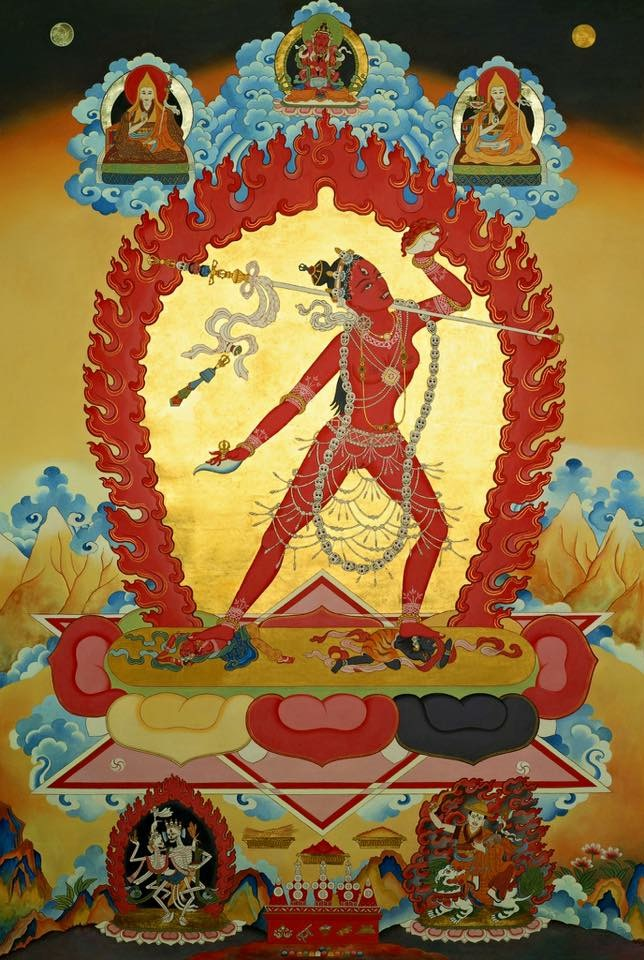 A fantastic image of Vajrayogini with the Protector of her practice Cittipati (aka Kinkara, bottom left). Bottom right is Dorje Shugden