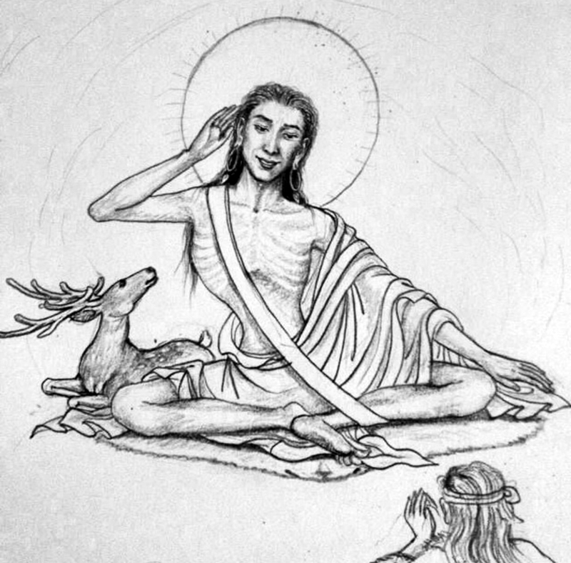 A line drawing of Milarepa. Milarepa is often depicted with a deer to his right, a reminder of the time he calmed a deer and hunting dog down, before imparting Dharma to the hunter who had been chasing after the deer.