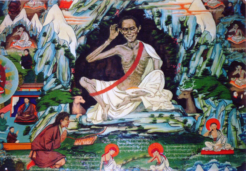 During his meditations, Milarepa for a time subsisted solely on nettles because he didn't want to waste meditation time begging or scavenging for food. Because of this, his skin took on a greenish hue and he grew to be so gaunt that when some game hunters chanced upon him, they were initially horrified, thinking that the skeletal figure they had just encountered was a ghost!