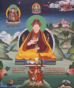 The 4th Zhabdrung Rinpoche Jigme Norbu. Above him is Chenrezig (the Zhabdrung line of incarnations are believed to be emanations of Chenrezig). To his right is Guru Rinpoche, one of the principal Drukpa Kagyu practices. Below him is Dorje Shugden, whose practice Jigme Norbu encouraged. To the right is one of the many dzongs Bhutan is famous for. Meanwhile, Bhutan herself is represented by the all-powerful dragon in the clouds.