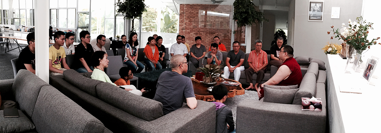 Rinpoche speaking on the Dorje Shugden ban to a small group of students back in 2015