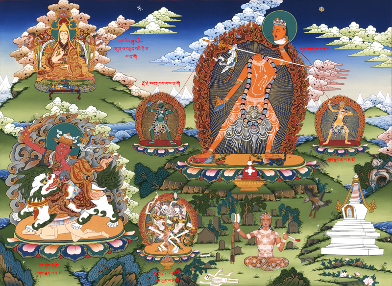 (Top to bottom): H.H. the 7th Panchen Lama, Ucheyma (Severed Headed Vajrayogini), Vajra Varnani (green assistant), Vajra Vairocani (yellow assistant), Dorje Shugden and Citipati. Click for high-resolution image or click here for more high resolution Buddha images.