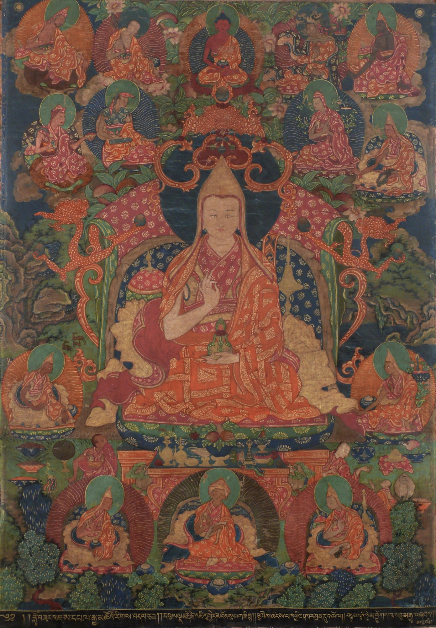 The 7th Panchen Lama Tenpai Nyima, a statesman and attained practitioner who included Chinnamasta's practice in his completion of sadhanas known as the Rinchen Lhantab. Click to enlarge.
