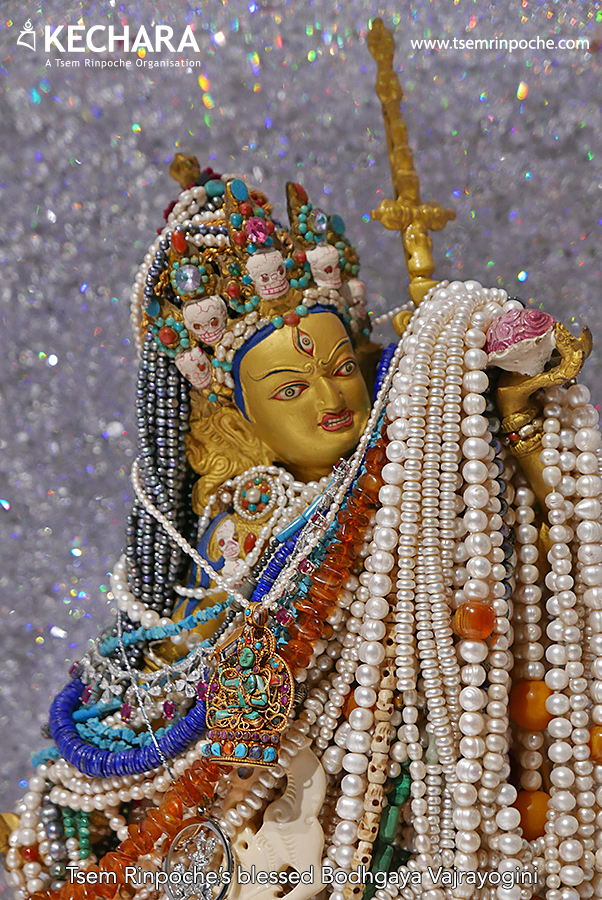 Rinpoche's richly-decorated Bodhgaya Vajra Yogini. Click on the image to read the story of how she got her name.