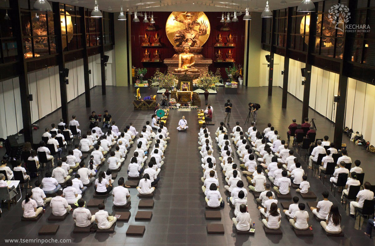 The design for our beautiful Wisdom Hall came from Rinpoche's mind, so no one inside the hall would have to strain to catch a glimpse of the altar.