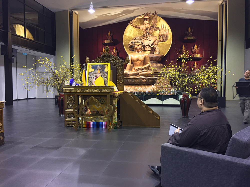 Taken in January 2017. Rinpoche had gone to Wisdom Hall to check the dimensions of the space, before designing the lama thrones that were being ordered for visiting monks and teachers. Whilst waiting for us to prepare the space, Rinpoche had a conversation with Dorje Shugden.